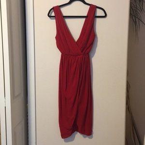 Alice + Olivia red silk dress